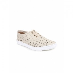 Shoetopia Cream Synthetic Lace Up Casual Shoes