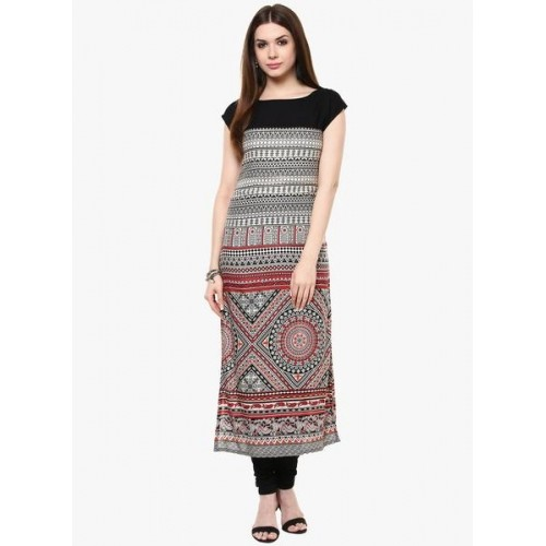 Ives Black Rayon Printed Straight Kurta