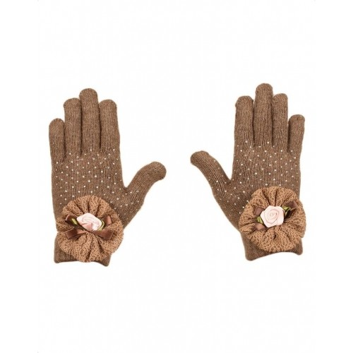 Tiekart Brown Wool Embellished Winter Gloves