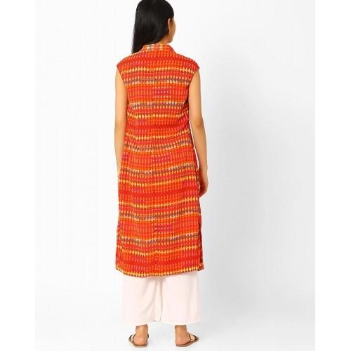 Buy Biba Orange Polyester Open-Front Shirt Style Kurta online ...