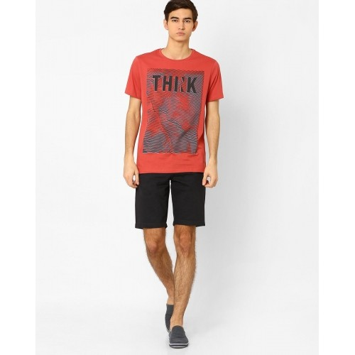 Ajio Red Cotton Graphic Printed T-shirt