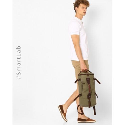 371268a00dcc Ajio Olive Canvas Duffle Backpack  Ajio Olive Canvas Duffle Backpack ...