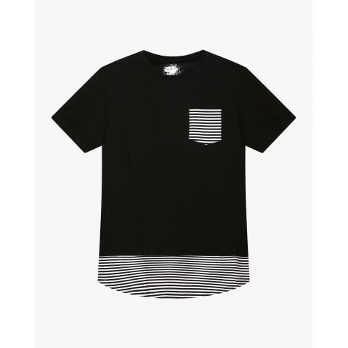 Ajio Black Cut & Sew CrewNeck T-shirt