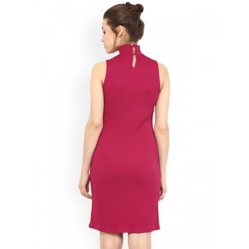 Miss Chase Pink  Cotton Solid Sheath Dress