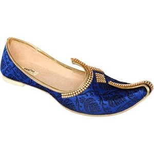 Krafto Blue Silk Slip-On Wedding Jutti