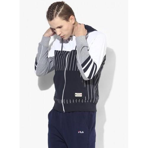 Fila Beam Navy Blue & White Cotton Hoodie