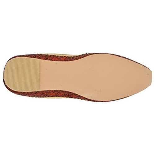 SKYLYF Men's Golden & Maroon Cotton Mojaris
