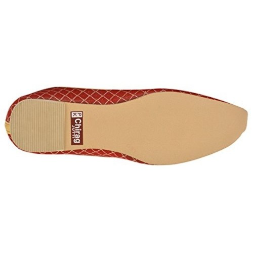 SKYLYF Men's Red Checked Cotton Mojaris