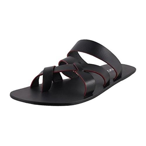 59992f6a59a097 Buy Mochi Men s Black Indian Footwear Leather Thong Slipons online ...