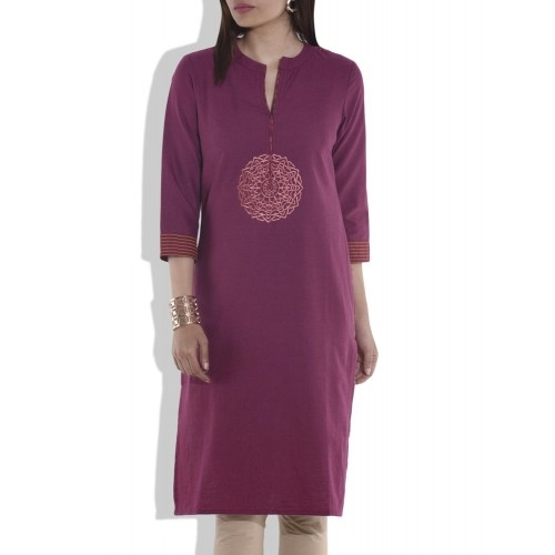 BE INDI Burgundy Solid Embroidered Kurti
