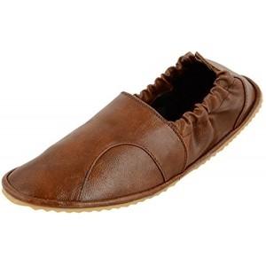 IK Fashions Men's Brown Synthetic Leather Mojaris