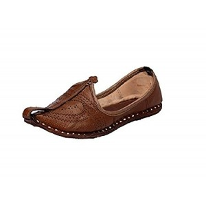 Pahnawa Men's Brown Ethnic Leather Mojari