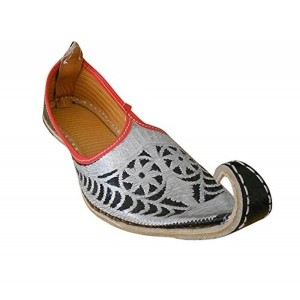 Kalra Creations Silver Leather Ethnic Shoes