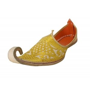 Kalra Creations Men's Yellow Leather Ethnic Shoes