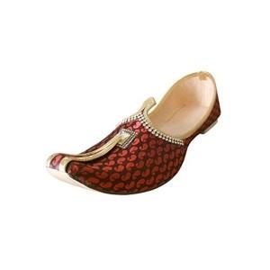 Kalra Creations Men's Maroon & Black Silk Ethnic Shoes