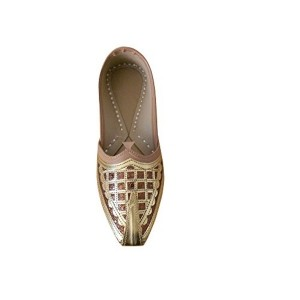 Kalra Creations Men's Golden & Brown Leather Ethnic Shoes
