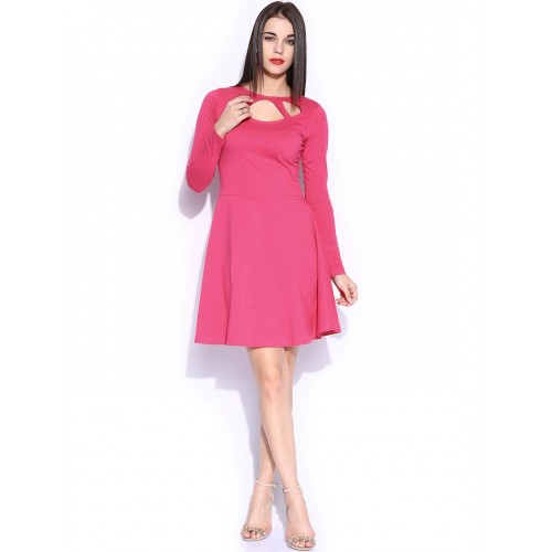 Miss Chase Pink Cotton Solid A-line Dress