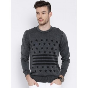 U.S. Polo Assn. Grey Cotton Printed Sweater