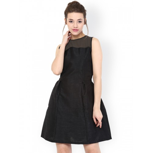 Miss Chase Women's Fit and Flare Black Solid Dress