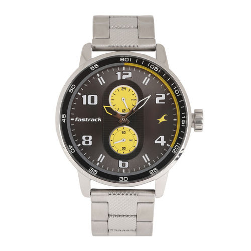 Fastrack Men Grey & Yellow Dial Analogue Watch 3159SM02