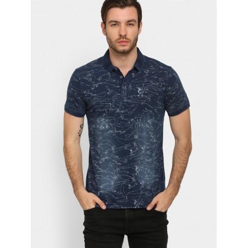 1bf7be4b Buy Spykar Men Indigo Blue Printed Slim Fit Polo T-Shirt online ...