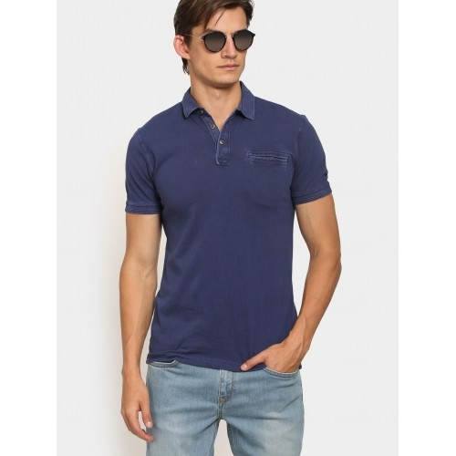 efbaf31cd9 Buy LP Jeans by Louis Philippe Men Navy Slim Fit Polo T-shirt online ...