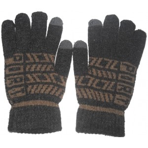 Aadishwar Creations Black Synthetic Leather Printed Winter Gloves