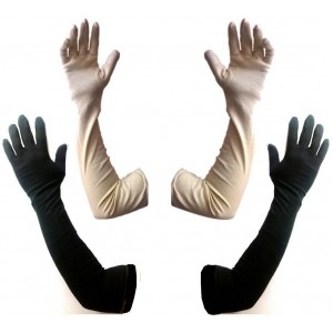 Aadishwar Creations Cream & Black Cotton Solid Gloves