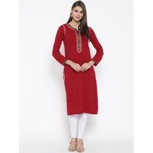 Biba Red  Acrylic Solid A-Line Woolen Kurta