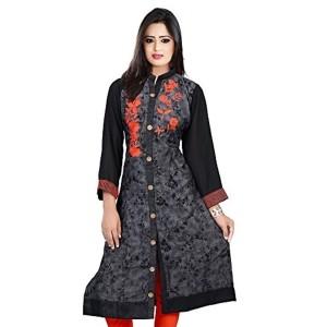 Bhavika Fashion Black Denim Embroidered Kurti