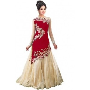 Shree Creation Red & Cream Embroidered Ghagra Choli