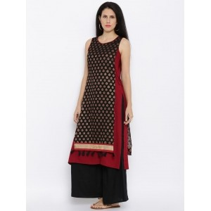 Global Desi Black & Red Printed Overlay Kurta