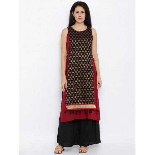 Global Desi Black & Red Printed Overlay Kurta