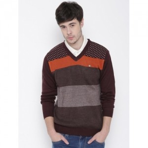 Duke Stardust Men Burgundy Striped Sweater