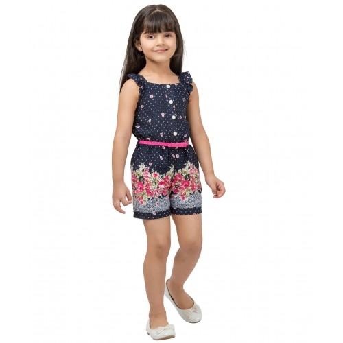 Tiny Baby NavyBlue Dot & Floral Print Jumpsuit