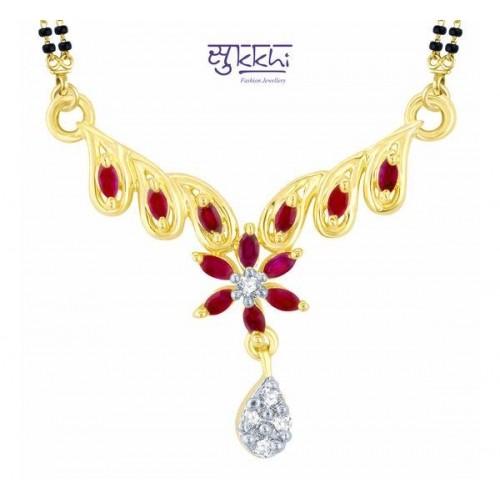 f66e6c5722 Pissara Astonishing Gold and Rhodium Plated Cubic Zirconia and Ruby Stone  Studded Mangalsutra