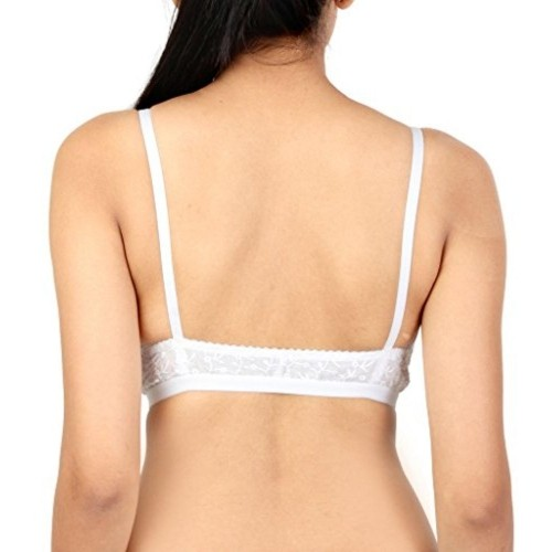 Julia White Embroided Chikan Front Open Low Neck Cotton Bra