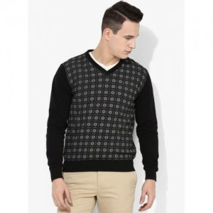 Blackberrys Black Cotton Printed Regular Fit V Neck Sweater