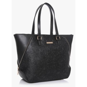 Addons Self-Embossed Paisely Black Tote Bag