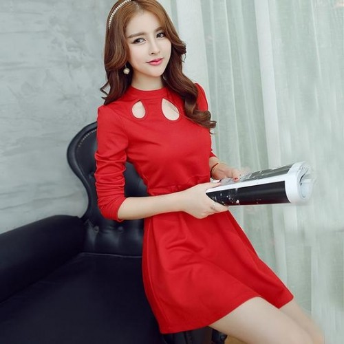 Zafraa Korean Red Key Hole Neck Dress