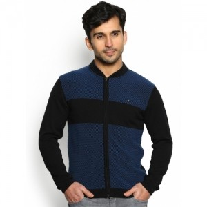 Blackberrys Men's Blue Patterned Zipped Cardigan