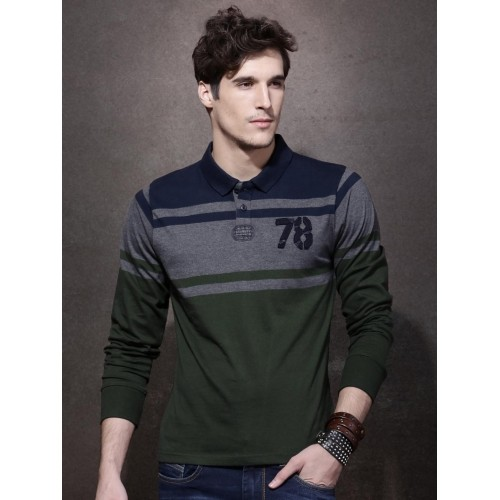 2ad8c7a7c ... Roadster Navy Blue Colour Blocked Full Sleeve T Shirts With Collar ...