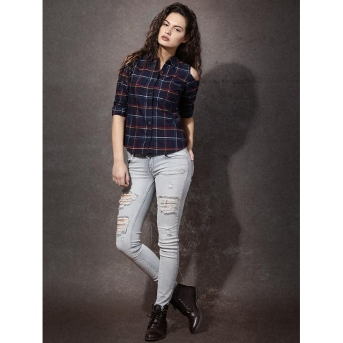 Roadster Women's Checkered Navy Blue Casual Shirt