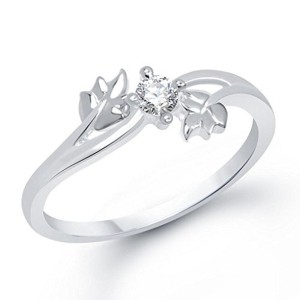 VK Jewels Leaf Rhodium Plated Cubic Zirconia Ring - FR1187R [VKFR1187R]