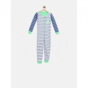 The Childrens Place  White & Blue Cotton Striped Rompers
