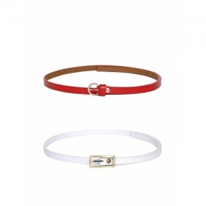 Scarleti Red & White Synthetic Leather Solid Set of 2 Belts
