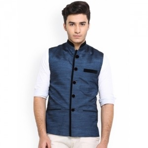 Shaftesbury London Blue Silk Nehru Jacket