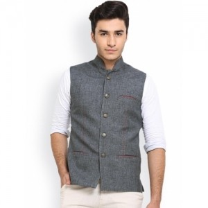 Shaftesbury London Grey Jute Nehru Jacket