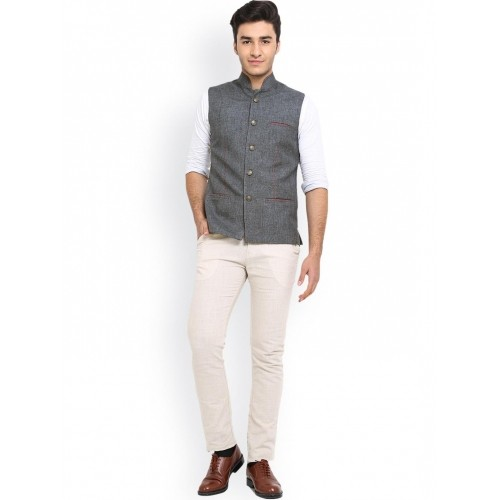 Shaftesbury London Grey Jute Nehru Jacket