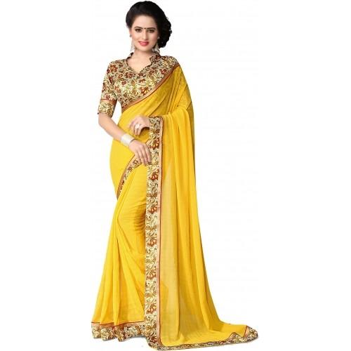 Indianbeauty Chiffon Saree (Yellow)